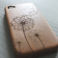 Walnut wood iphone 4 case iphone 4s case dandelion