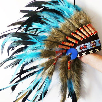 For Kid / Children: Light Blue / Turquoise Chief indian Feather Headdress with red yarn / native american Warbonnet for the little ones