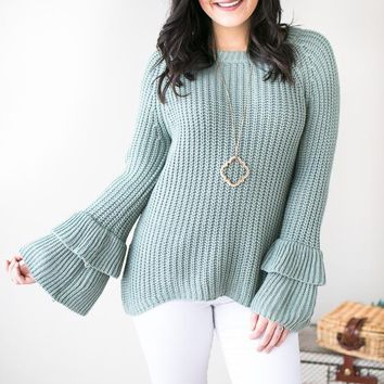 School's Out Bell Sleeve Sweater- Sage