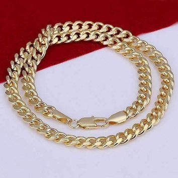 18k Gold Plated Men's Cuban Curb Link Chain Necklace