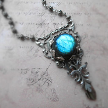 Romantic victorian key necklace / key, labradorite, sterling silver plated brass, ornate filigree