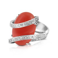 Del Gatto Designer Rings Red Coral Diamond Channel 18K Gold Ring