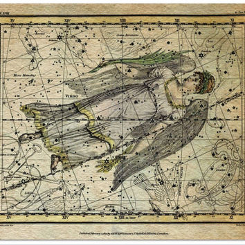 Virgo Constellation, Astronomy, Astrology, Zodiac, Canvas