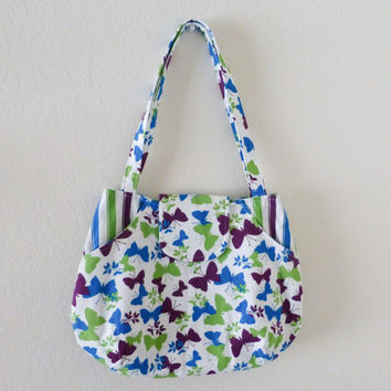 Fabric handbag, fabric purse, tote purse, fabric purse white, fully lined, butterfly print, ready to ship, handmade, women's accessory, cute