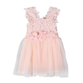 New Baby Girls Dress Princess Kids Clothes Sequins Flowers Mesh Costume Party Dresses Children Clothing 2017 2017