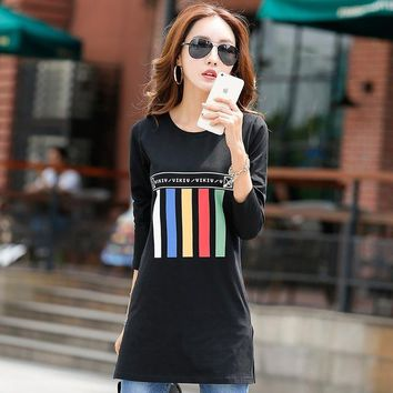 Tops and Tees T-Shirt New 2017 Long T Shirt Women Cotton Long Sleeve Poleras Mujer Winter Women's T-shirts Cute Print  Tees Casual Women Tunic AT_60_4 AT_60_4