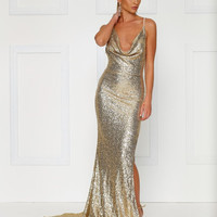 Andriana Sequins Gown- GOLD