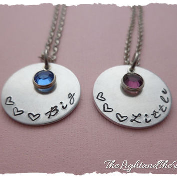 Hand Stamped Sorority Sisters Necklace Big Little with swarovski Elements sister college birthstones  Pledge Rush Pledgling Ceremony