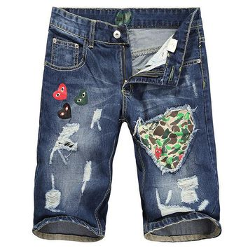 LMFMS9 Ripped Holes Pants Denim Korean Men Hip-hop Casual Shorts [6034575169]