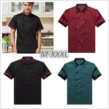 Fashion  Work Wear Summer Kitchen Chef Jacket Uniforms Short Sleeve Plus Size Cook Clothes Food Services Frock Coats