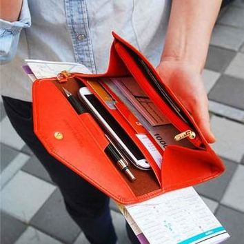 Women Long Envelope Wallet Large Capacity PU Purse Money Bag Phone Bags Card Passport Holder