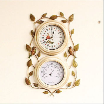 Pastoral Style Leaf Multi-functioned Clock [6282700678]