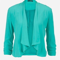 Drape Front Blazer With Cinched Sleeves - Sea Green