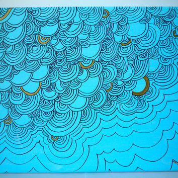 Light Blue and Gold Abstract Painting on Canvas 10x8 by WhitSpeaks