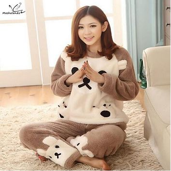 2016 Hot Winter and Autumn Cute Brown Bear Pajama set Round Neck Flannel Cartoon Pajama Thick warm Home Sleepwear