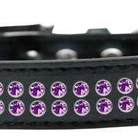 Two Row Purple Crystal Size 18 Black Dog Collar