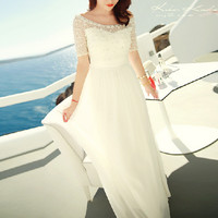 White Boheman Beaded Chiffon Dress