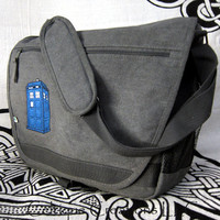 UK Police Box Laptop Messenger Bag Gray Cotton Canvas Blue Embroidery