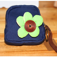 New Blue Purse Crafts Shoulin Cartoon Cloth Packet Durable Leisure Canvas  Buttons green flowers Wallet