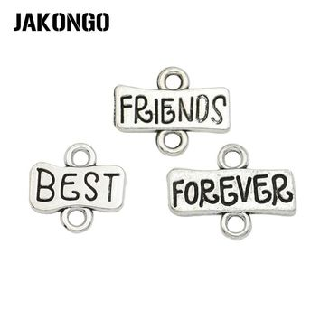 JAKONGO Antique Silver Plated Best Friends Forever Connector for Jewelry Making Bracelet Necklace Accessories 13mm 15PCS/lot
