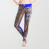 Royal Blue African Kinte Print Leggings Brown Black Yellow Royal Blue Pattern Magenta African Print Legging Polyester Spandex Antimicrobial