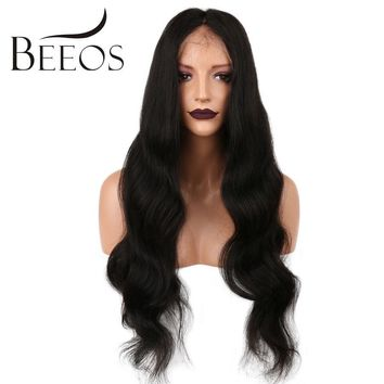 BEEOS 180 Density 360 Lace Frontal Wig Brazilian Remy Human Hair Wigs With Baby Hair For Black Women Pre Plucked Bleached Knots
