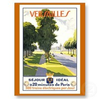 """Versailles"" Vintage French Travel Poster Postcard from Zazzle.com"