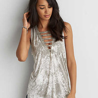 AEO Soft & Sexy Ladder Front Tank , Gray