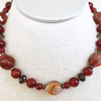 Red Agate Carnelian Smoky Topaz Gemstone Bead Choker Necklace 925 Handtied