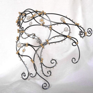 Pewter and pearl vine half mask, handmade, womens, costume, accessories,wedding