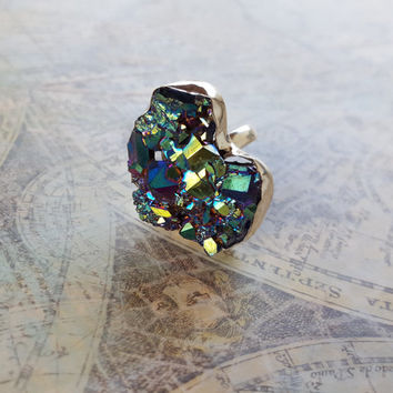 Unique Blue Green Geode Druzy Statement Ring, Large unique cocktail ring, OOAK Ring, One of a kind, Druzy Jewelry, Size 6.5