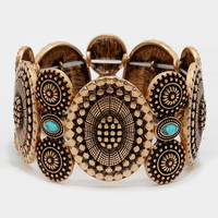 "1.30"" wide stretch rosette disc bracelet bangle"