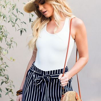 Alex West Navy Striped High Waisted Shorts