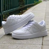 NIKE Women Men Running Sport Casual Shoes Sneakers Air force Low tops Full color White White hook