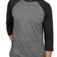 Mens Round Neck 3/4 Sleeve Baseball Raglan T Shirt