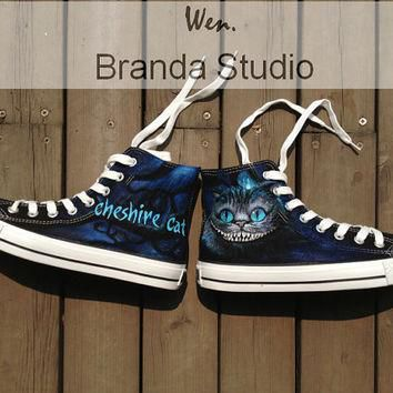 Alice In Wonderland-Cheshire Cat-Studio Hand Painted Shoes 55Usd,Paint On Custom Conve