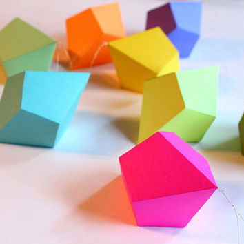 DIY Geometric Paper Ornaments - Set of 8 Cut-and-Fold Paper Polyhedra Templates.