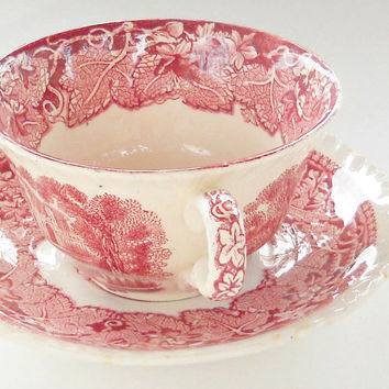 Mason's Vista Pink Transferware  Tea Cup & Saucer Set, Tea Party, Red Transferware, Downton Abbey Inspired, English Bone China, Ca. 1890's