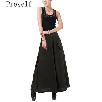 Preself Plus Size Wide Leg Pants Casual Two Pockets Women Lady NEW Long Trousers Skirt