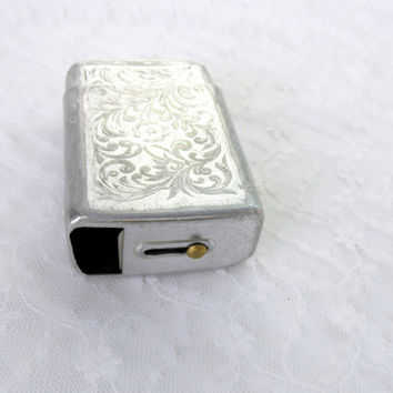 Mid Century Cigarette Tin With Slide Lid Opener Art Nouveau Engraved Design Made In USA Silver Metal Vintage Collectible Gift Item 2231F