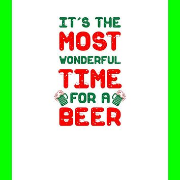 Christmas Most Wonderful Time for a Beer All Over Can Cooler