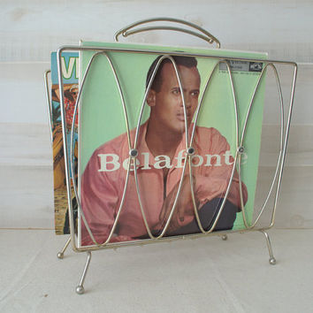 Mid Century Modern Brass Record Rack, 1960s Gold Magazine Rack, MCM Vinyl Storage, Brass Record Holder, Mid Century Magazine Rack