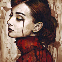 Audrey Hepburn | Quiet Sadness Art Print by Olechka