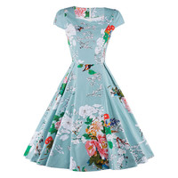 Summer Vintage Dress Slim 50s Hepburn Style  S