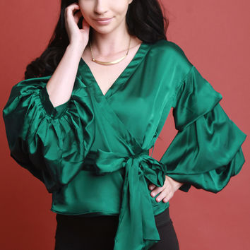 Satin Waist Wrap Balloon Statement Sleeves Blouse | UrbanOG