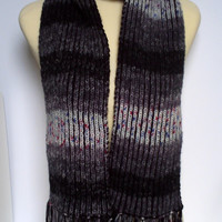 Adult men / teenager hand knitted Brioche scarf .Black / Grey.