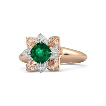 Cushion Emerald 14K Rose Gold Ring with White Sapphire