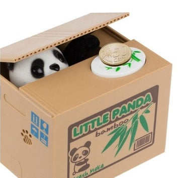 New Cute Panda Automatic Stole Coin Piggy Bank 11.5x9.5x9cm Size Money Saving Box Money Box Gifts for Kids [8270360769]