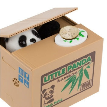 New Cute Panda Automatic Stole Coin Piggy Bank 11.5x9.5x9cm Size Money Saving Box Money Box Gifts for Kids [9305910279]
