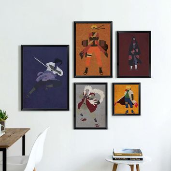 Naruto Sasauke ninja Elegant Poetry Japanese Anime  Modern Simple Retro Role Canvas Painting Print Picture Poster Children Bedroom Decoration AT_81_8